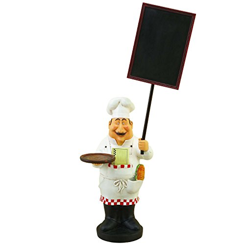 EcWorld Enterprises 7757957 Large French Chef Figurine With Welcome Chalkboard Kitchen Decor