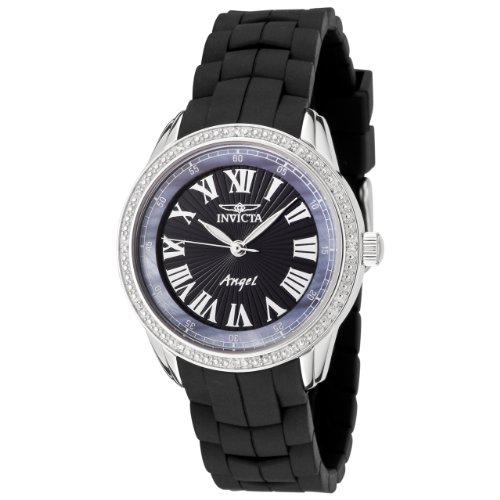 Invicta Women's 0723 Angel Collection Diamond Black Polyurethane Watch