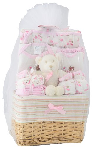 buy Big Oshi Baby Essentials 10 Piece Layette Basket Gift Set - Pink for sale