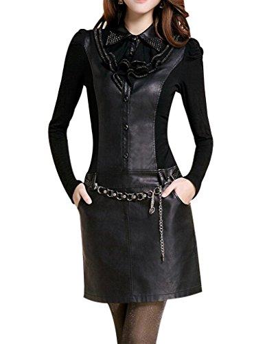 Ventelan Soft Sexy Hot Long Sleeve Leather Slim Fit Wrap Dress Skirts