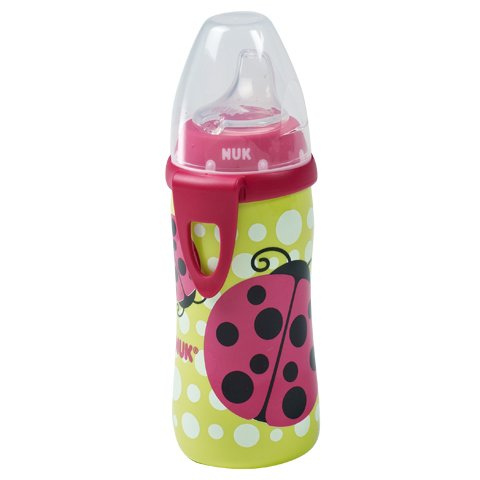 NUK Active Cup with Clip Silicone Spout 12m+ 10 Oz. (Girls / Ladybug Design)