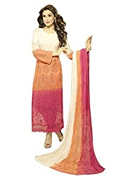 Zbuy Orange and Pink Georgette Embeoidered Unstitched Salwar Suit Dress Material