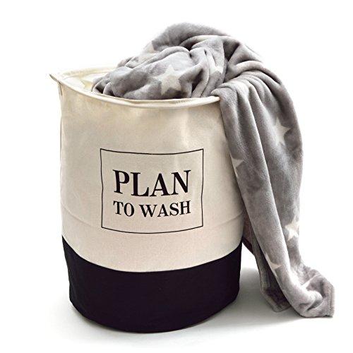 Pink Papaya sac à linge - mesures: H 50 x Ø 40 cm - Motif: Plan to wash - Corbeille à linge en coton de forme stable