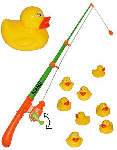Angelspiel mit 8 Enten - drehbare Angel -incl. Namen - Kinderspiel Spiel - Wasserspielzeug Wasser Entenangeln / Entchen - angeln für Kinder - mit Magnet - Badewanne Spiel Fischeangeln