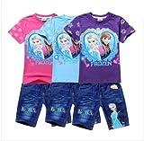 映画 アナと雪の女王 Frozen elsa 子供用 コスチューム Tシャツ パンツ セット HotPet
