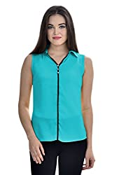 Femninora Turquoise Blue Color Casual Collar Top