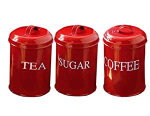 set of 3 funky retro vintage style tea coffee sugar tins
