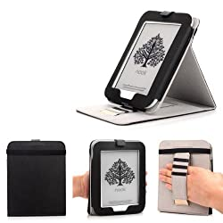 Barnes & Noble NOOK GlowLight Plus eReader Case - Mulbess Leather Case Cover with Kickstand and Elastic Hand Strap for NOOK GlowLight Plus Color Black