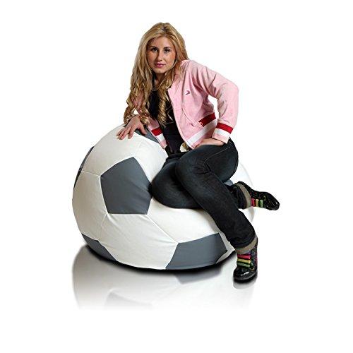 Turbo BeanBags Soccer Ball Style Bean Bag Chair Large White Gray