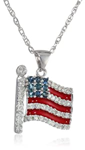 """Sterling Silver Blue Sapphire, Red Enamel and Diamond American Flag Pendant Necklace (1/5 cttw), 18"""""""