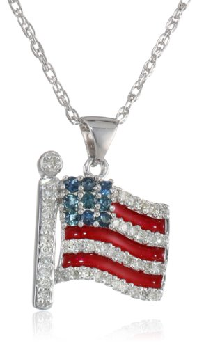 Sterling Silver Blue Sapphire, Red Enamel and Diamond American Flag Pendant Necklace (1/5 cttw), 18""