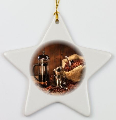 Rikki Knighttm Sack Of Coffee Beans With French Press Porcelain Star Ornament
