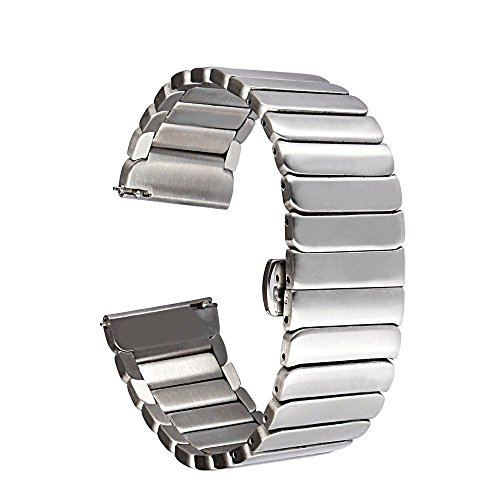 Yishun Stainless Steel Watch Band Metal Watchband Strap Bracelet Specially Designed for Motorola Moto 360 2nd Gen 46mm Smartwatch with Butterfly Buckle, Quality Connector(Silver)