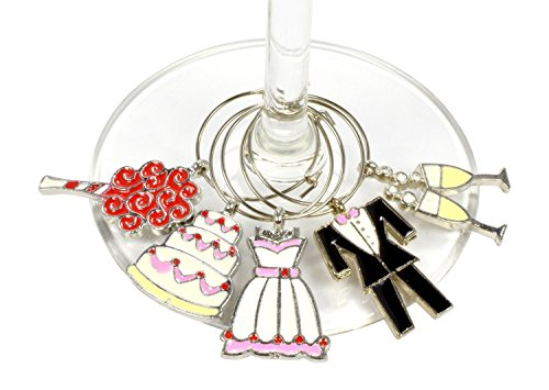 Wedding Wine Charms (Set of 5) - Elegant Gift for the Bride to Be, Bridal Showers, Engagement and Bachelorette Parties, Perfect to Identify your Wine Glass - Modern Vino
