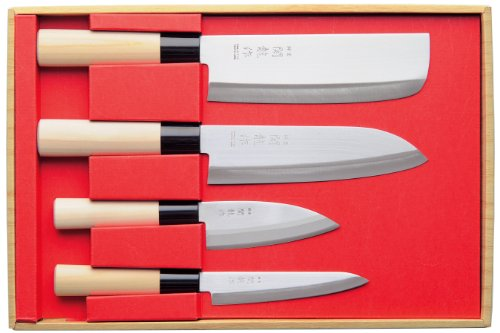 Knife Set Japan SekiRyu Nakiri, Santoku, small Deba + all-purpose Knife incl. one japanese whetstone #800