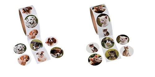 200 Awesome CAT & DOG Stickers/(2 ROLLS of 100 ea) KITTENS/Puppies/PUPPY - KID'S Party FAVORS/Classroom/DOCTOR/DENTIST