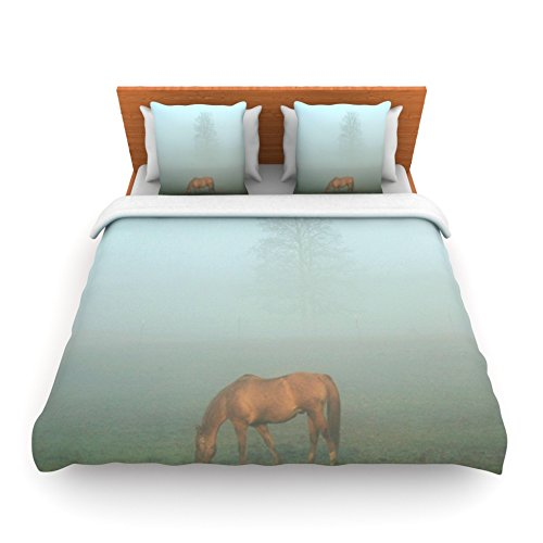 Kess InHouse Angie Turner Horse in Fog Blue Mist Queen Fleece Duvet Cover, 88 by 88-Inch kess inhouse danny ivan ticky ticky twin cotton duvet cover