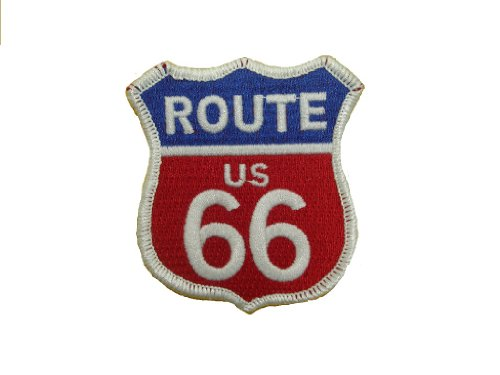 "Red Route 66 Iron On Biker Patch Motif Applique Embroidered Decal 2.9""X2.5"" front-188012"