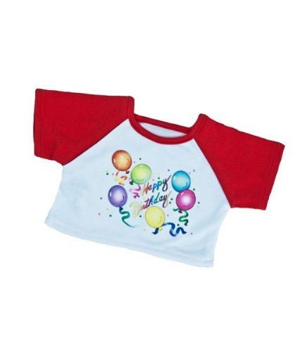 "Red Birthday T-Shirt Outfit Teddy Bear Clothes Fits Most 14"" - 18"" Build-a-bear, Vermont Teddy Bears, and Make Your Own Stuffed Animals - 1"
