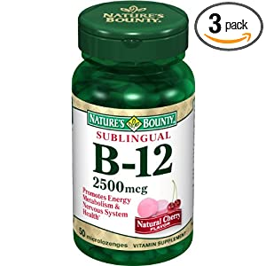 Nature's Bounty Sublingual Vitamin B-12, 2500mcg, 50 Tablets (Pack of 3)