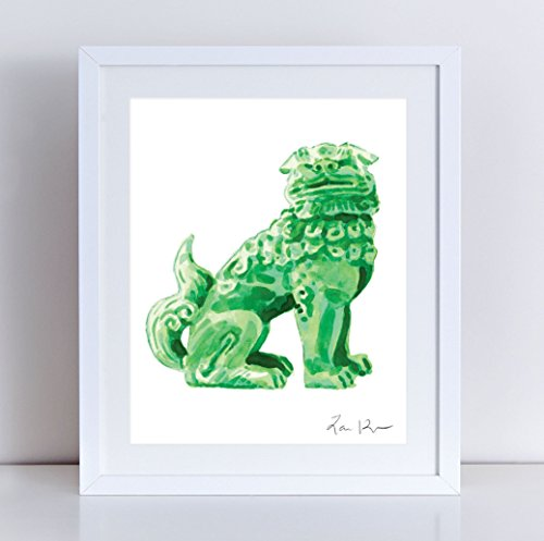 Foo Dog Green Jade China - Giclee Print of Watercolor - 8 x 10, 11 x 14 inches Fine Art Poster Fu Lion Japan Bookends Asian Decor Porcelain Chinoiserie Chinese Antique Ming Vase Pattern Fine China Japan