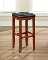 Hot Sale Crosley Furniture Upholstered Square Seat Bar Stool, Classic Cherry with 29-Inch Seat Height, Set of 2