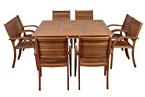 Hot Sale Amazonia Arizona 9-Piece Eucalyptus Square Dining Set