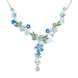 Glamorousky Blue Flower and Tiny Butterfly Necklace with Blue Swarovski Element Crystals (975)