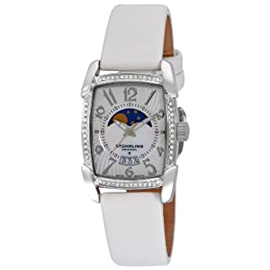 Stuhrling Original Women's 163SW.1115P7 Carnegie Uptown Swiss Quartz Moon Phase Date White Satin Strap Watch