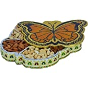 JaipurCrafts Butterfly Aluminium, Wooden Decorative Platter (Multicolor)
