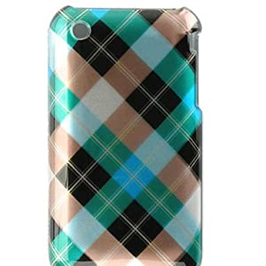 Premium Designer Hard Crystal Snap-on Case for Apple iPhone 3G, 3GS 3G-S - Cool Blue, Green Diagonal Checkers Diamond Plaid Print