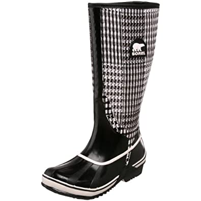 Sorel Women's Sorellington TXT NL1622 Rain Boot,Black/Winter White,10 M US