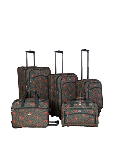 American Flyer 5-Piece Budapest Spinner Luggage Set, Green