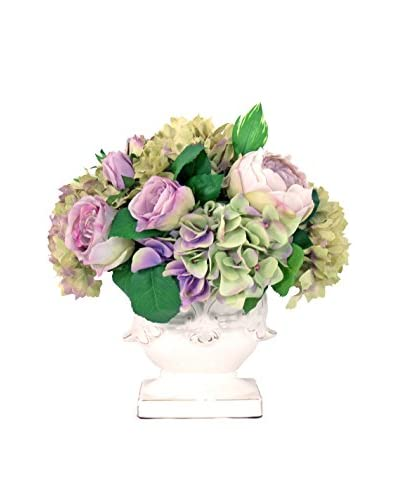 Creative Displays Rose & Hydrangea Pedestal Pot, Lavender/Green