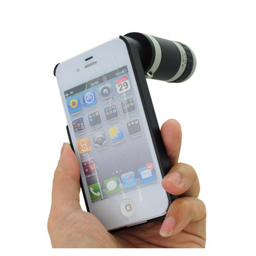 8X Optical Zoom Lens Mobile Phone Telescope For Iphone 4G/4S-Black