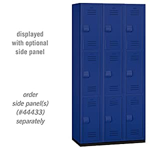 Salsbury Industries 3-Tier Heavy Duty Plastic Locker with Three Wide Storage Units, 6-Feet High by 18-Inch Deep, Blue from Salsbury Industries