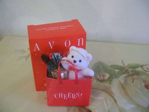 AVON HOLIDAY FRIEND ORNAMENT- TEDDY IN BAG