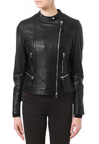 KGN FASHION Women Cow Leather Jacket WC085 S Black
