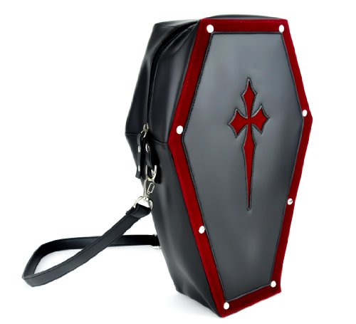 Red Cross Coffin Bag Gothic Purse Backpack Made From Vegan Synthetic Leather