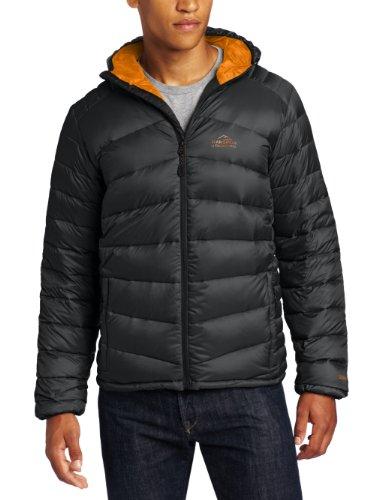 Bear Grylls Men's Lightweight Down Jacket, Black/Survival Orange, Large