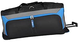 "5Cities® Medium Extra Large 30 Inch Super Lightweight Wheeled Holdalls Bag (30"", Black-Blue 612)"