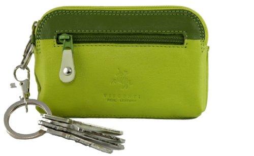 """Visconti borsellino di pelle da donna con anello portachiavi """"Rainbow"""" multicolore Purse (RB62): (toni del verde (lime multi))"""