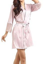 LAPAYA Women's Short Kimono Robe Lingerie Bridal Silky Lace Trim Satin Sleepwear
