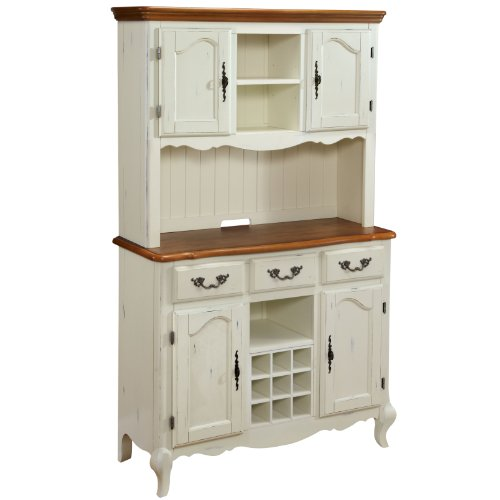 Home Styles 5518-617 The French Countryside Buffet And Hutch, Oak/Rubbed White front-740021
