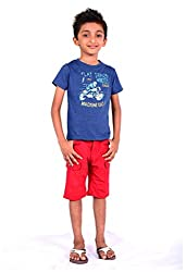 ATIVO Motorcycle Tee & Red Cargo Shorts Pack (ATB302_Blue&Red_6Year) (ATB3026Y)