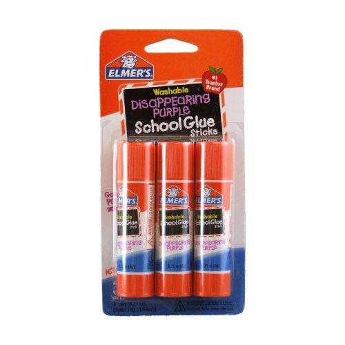 Elmer's Disappearing Purple School Glue Sticks, 0.21 oz Each, 3 Sticks per Pack (E520)