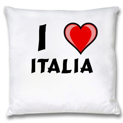 White Cushion Cover with I Love Italia (first name/surname/nickname) white cushion cover with i love roddric first name surname nickname
