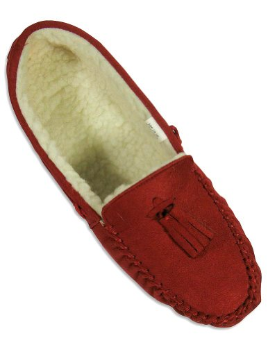 Cheap Private Label – Ladies Moccasin Slipper, Red 24619 (B004V9WWGG)
