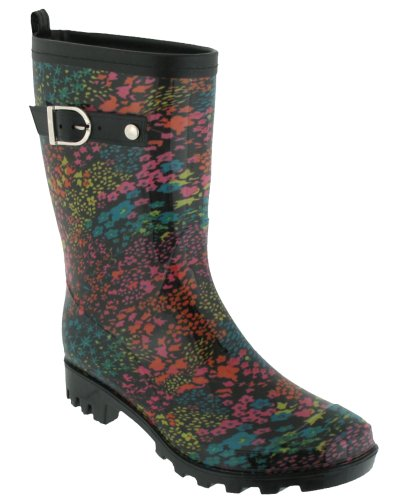 Capelli New York Floral Print With Pull Loop, Leather Trim And Buckle Strap Rain Boot Black Combo 6