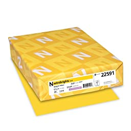 Neenah Astrobrights Premium Color Paper, 24 lb, 8.5 x 11 Inches, 500 Sheets, Sunburst Yellow